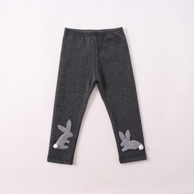 ~Mr Soar ~G220  韓國style 女童深灰色立體小兔加絨打底褲內搭褲