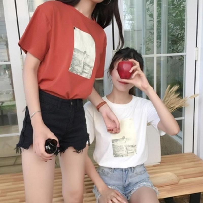 百搭寬松印花 短袖T 恤女韓妞 姐妹裝 顯瘦學生上衣潮