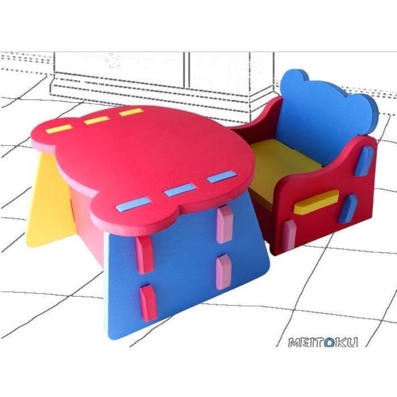 ~肥妞來囉~ 彩色巧拼EVA 兒童拼裝桌椅巧拼書桌(大小沒辦法 取件)桌面顏色不挑色