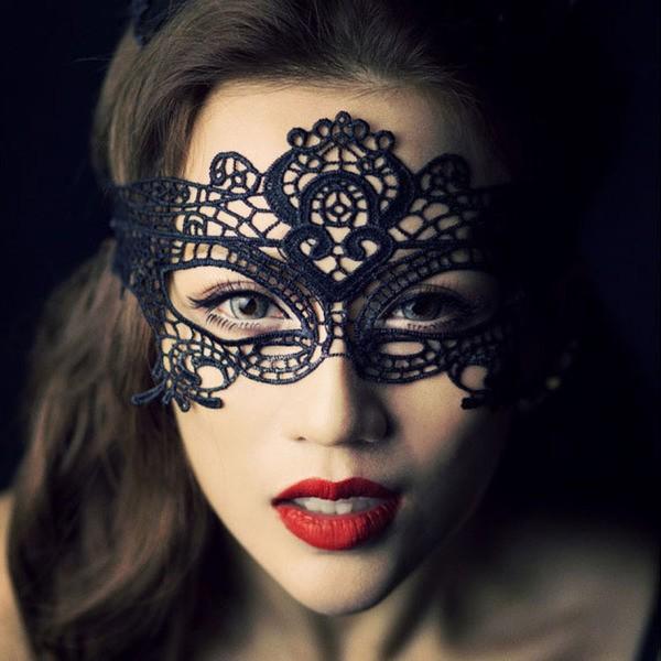 蕾絲面具情趣眼罩女派對公主半臉蕾絲眼罩黑色鏤空情趣面具聖誕節派對