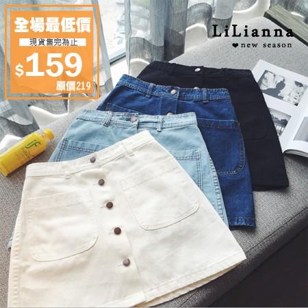 ~3115 ~~ 全場最 ~牛仔裙 高腰排扣大口袋牛仔裙~Lilianna 莉莉安娜