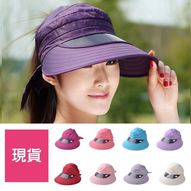 夏末隨便賣買一送一帽子女夏天防紫外線空頂遮陽帽 沙灘太陽帽騎車膠版大沿防曬帽棒球帽網帽漁夫