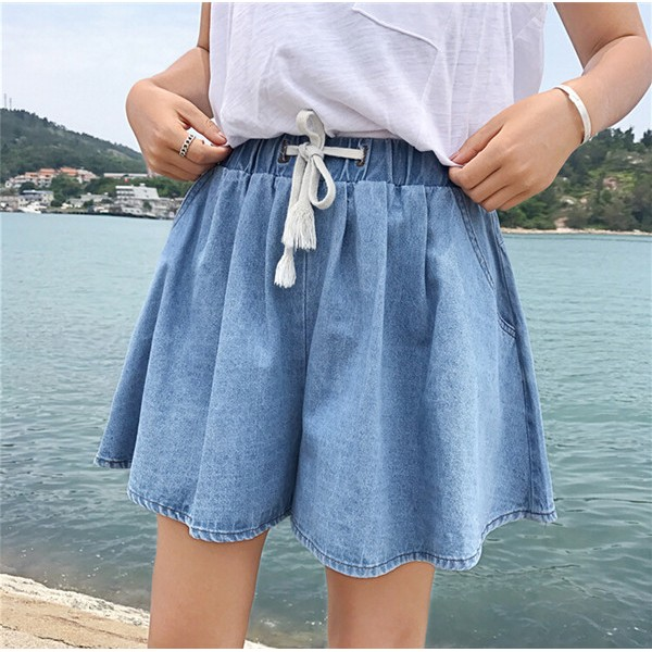 ~ ~ 正韓短袖寬鬆大碼顯瘦綁帶 潮牌牛仔短褲熱褲寬褲女