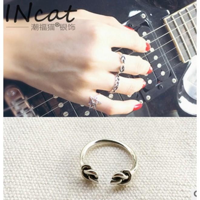 混拍三個起訂韓國S925 純銀素銀泰銀仿古復古雙結打2 個結開口 戒指指環