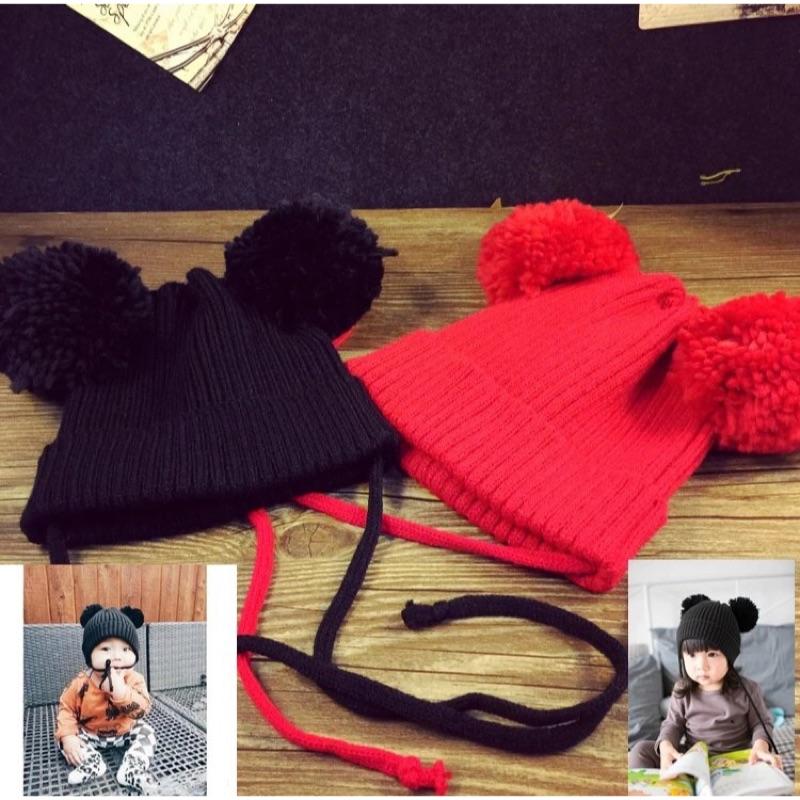 韓國寶寶可愛毛球針織毛線帽