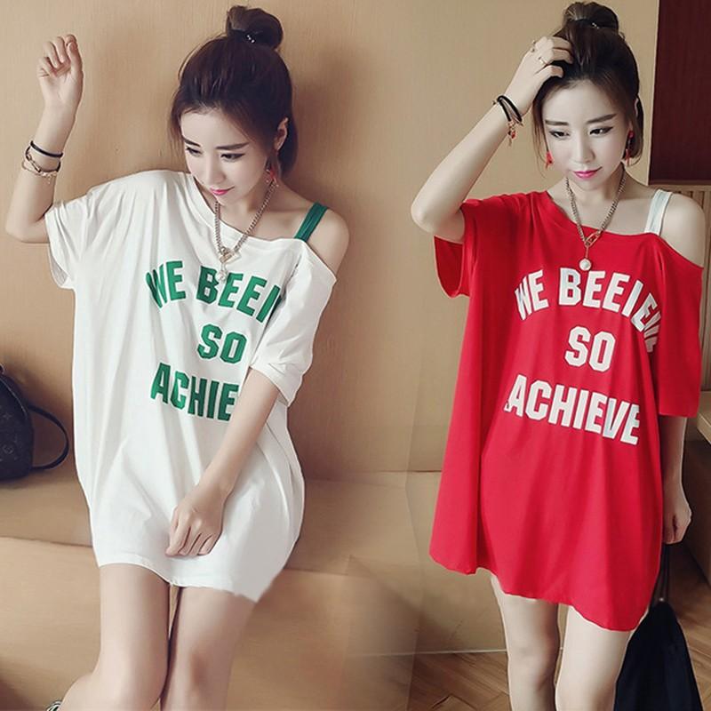 ~ ~韓國 學院風夏裝一字領中長款短袖t 恤女學生顯瘦 字母百搭露肩連衣裙