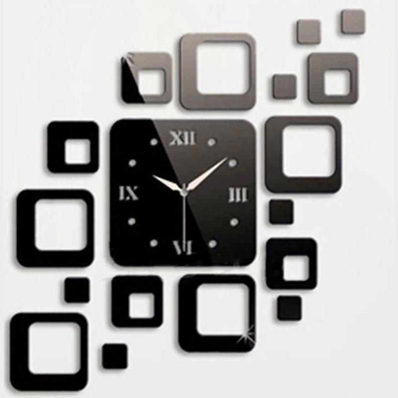 方形鏡面風格壁掛時鐘可拆卸貼花藝術貼家居裝飾