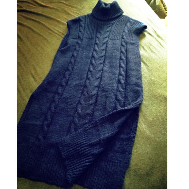 高領針織毛線背心裙(深藍)
