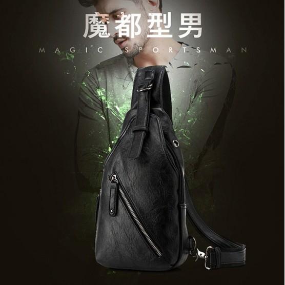 W16  潮流男士胸包學生 斜挎包 戶外 休閒多 防水包大容量隨身背包