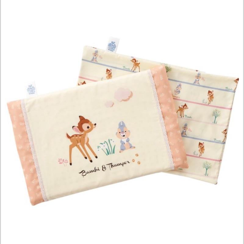 2 個純棉枕套, 製麗嬰房Disney 小鹿斑比平枕圓枕乳膠兒童嬰兒枕2 款)新生兒 !