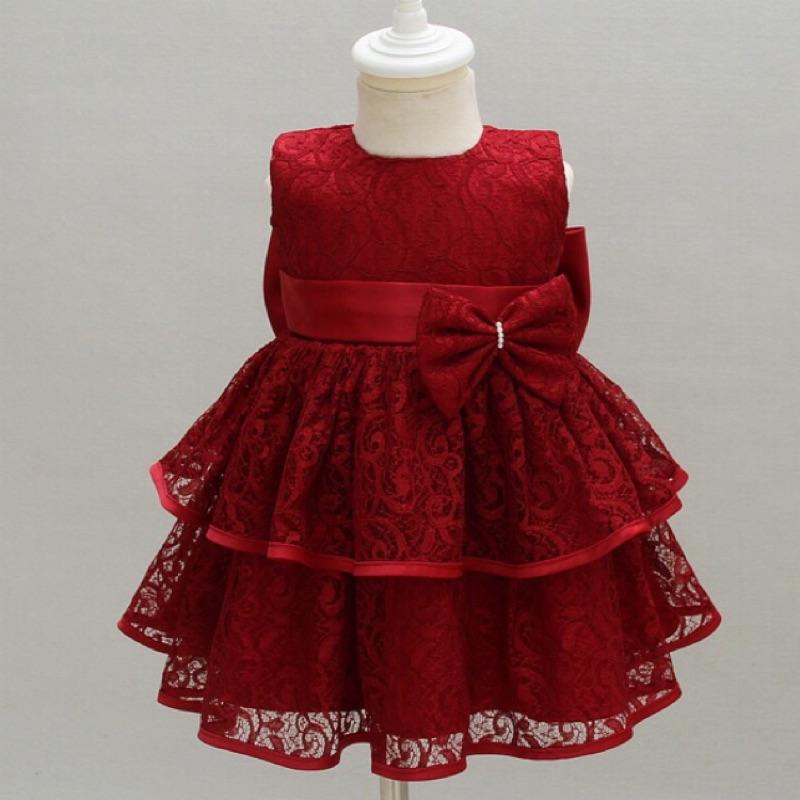 辣媽與萌寶[ ]暗紅色新生兒女嬰寶貝寶寶小公主白色女童嬰兒寶寶週歲生日滿月擺酒婚紗禮服公主