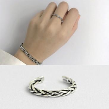 三件起拍可混拍 S925 純銀 CHIC 風復古做舊編織紋開口戒指指環