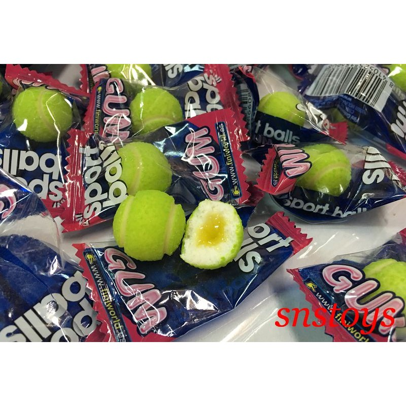 sns 古早味 食品網球泡泡糖口香糖網球泡泡糖檸檬夾心超好吃1000 克±165 顆西班牙