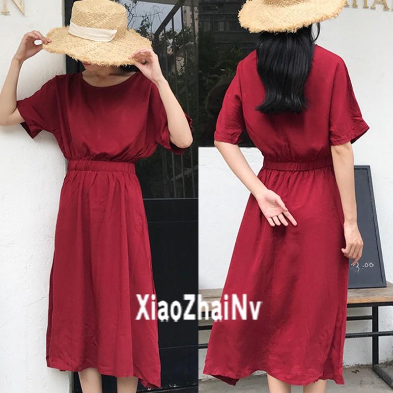 ~ ~正韓洋裝氣質chic 酒紅色圓領收腰顯瘦大裙擺寬松短袖連衣裙女生衣著
