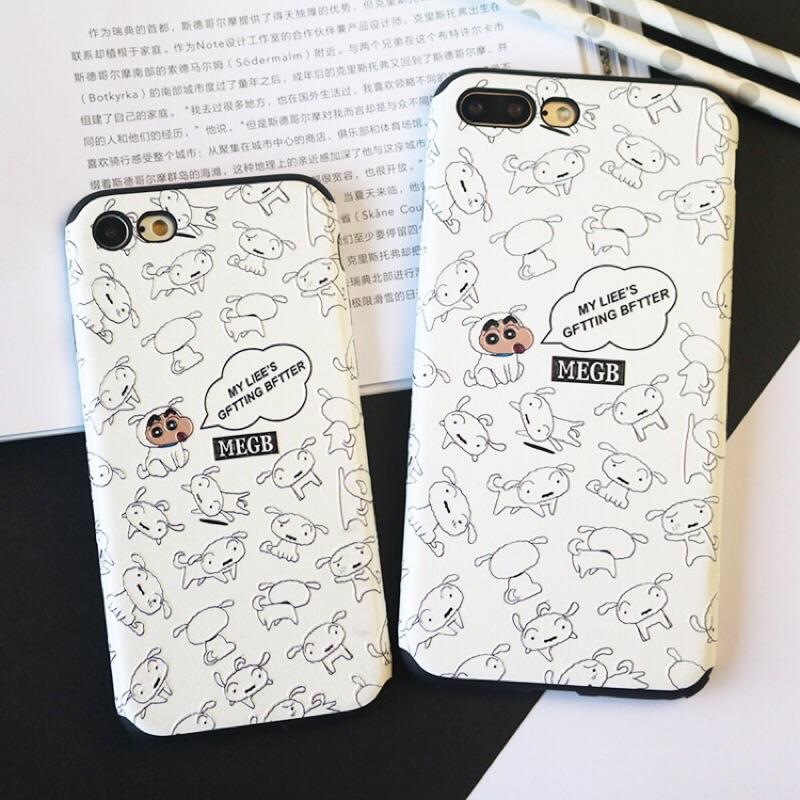 帶回蠟筆小新與小白萌款iPhone 7 6 5 手機殼