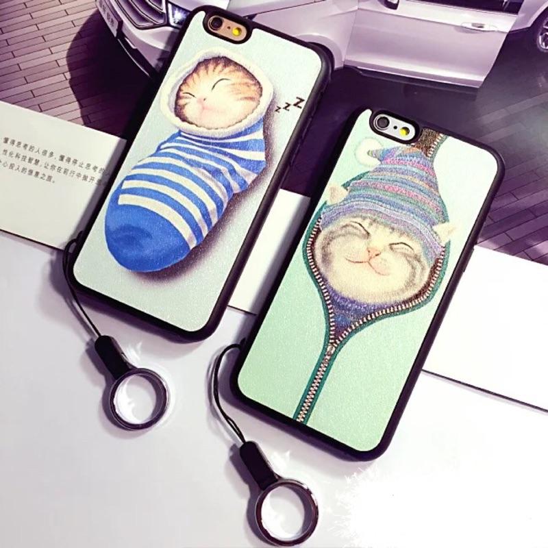 ~ ~萌貓蘋果iphone5 5s se 手機殼蠶絲紋i6 6s 全包軟殼i6plus 掛