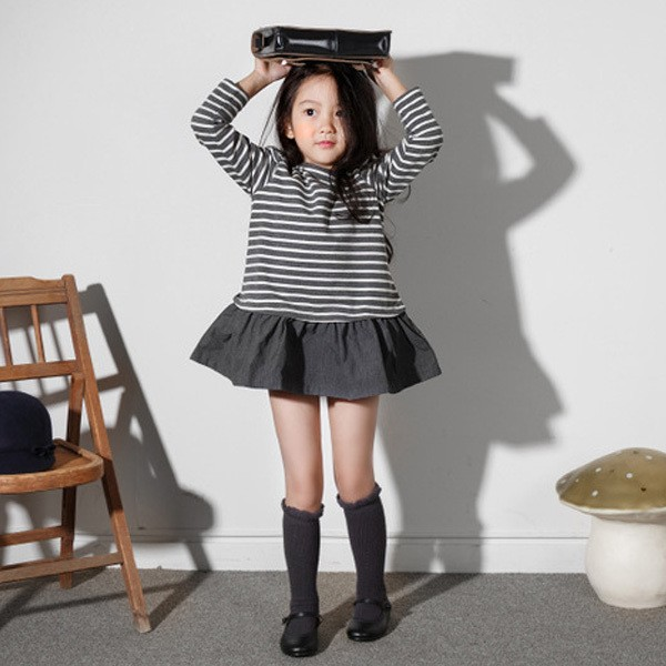 女童連衣裙春秋裝2016 寬松 純棉長袖條紋中大 兒童裙子