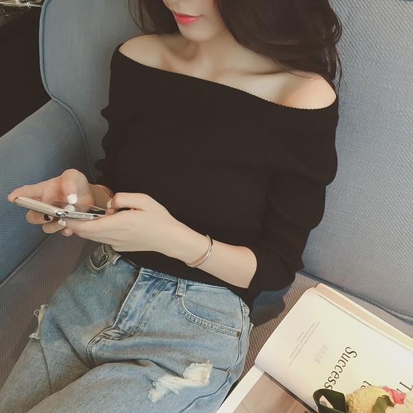 女裝緊身打底純色上衣一字領露肩長袖打底衫套頭毛衣針織衫
