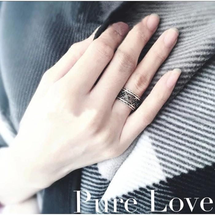 Pure Love 樂芙正韓~R0119 ~韓系簡約925 純銀蕾絲黑瑪瑙麻花開口戒指銀