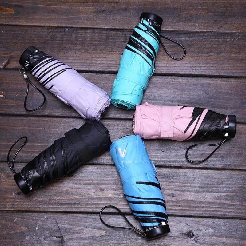 24 小時出貨 中馬卡龍系列小清新摺疊傘迷你傘抗UV 黑膠不透光