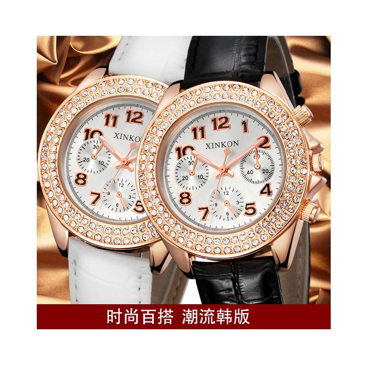 皮質表帶三眼大鏡面六針日歷女錶 鑲鉆手錶~ ~