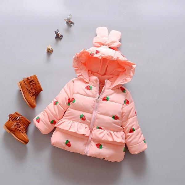 可愛連帽外套草莓羽絨外套寶寶女