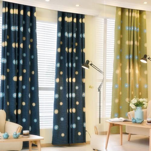 田園繡花亞麻棉麻窗簾成品定制客廳落地窗飄窗臥室全遮光加厚布料