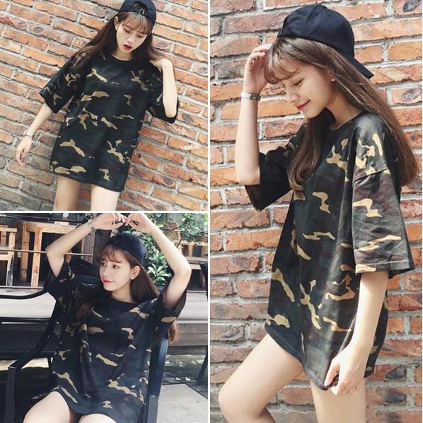 Ying Fashion ☘ 寬鬆顯瘦休閒迷彩圓領五分短袖t 恤☘