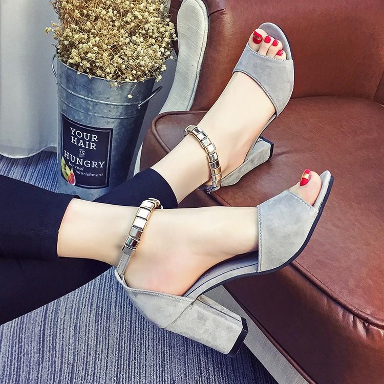 顯瘦露趾紅色麂皮圓頭粗跟鞋真皮涼鞋高跟女單鞋尖頭高跟鞋厚底涼鞋厚底跟鞋楔形涼鞋楔形跟鞋娃娃