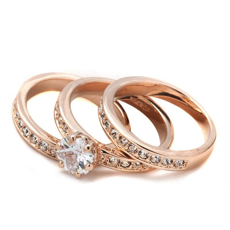 水晶玫瑰鍍金鑽石18K 戒指