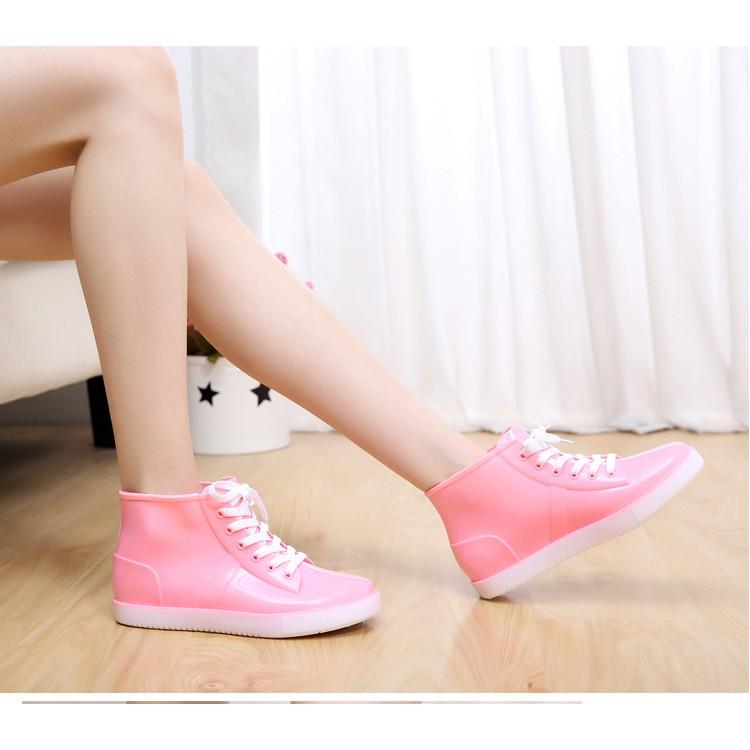 韓國甜美防滑短筒雨靴瑕疵品 帆布綁帶水鞋水靴女士雨鞋學生雨鞋上班族可愛超萌