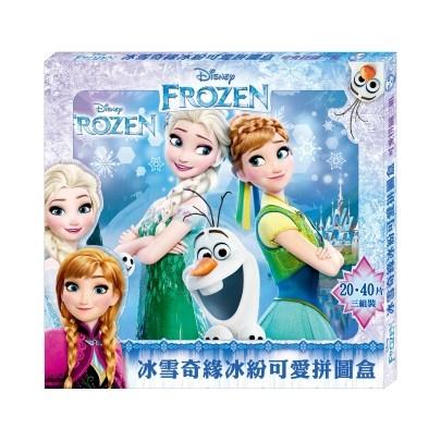 冰雪奇緣冰紛可愛拼圖盒3 入