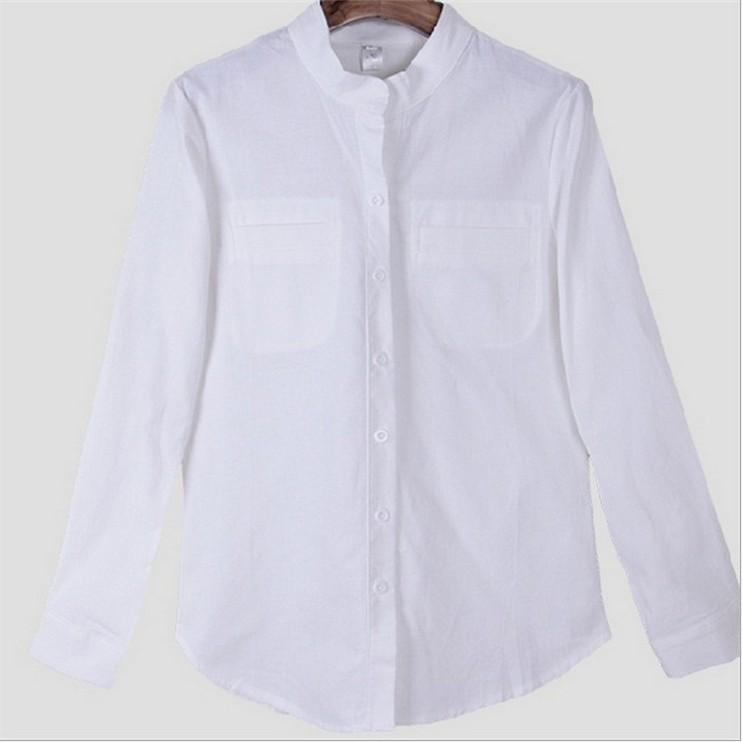 ~兩件全家免郵 ~ 修身白色棉麻立領女式襯衫
