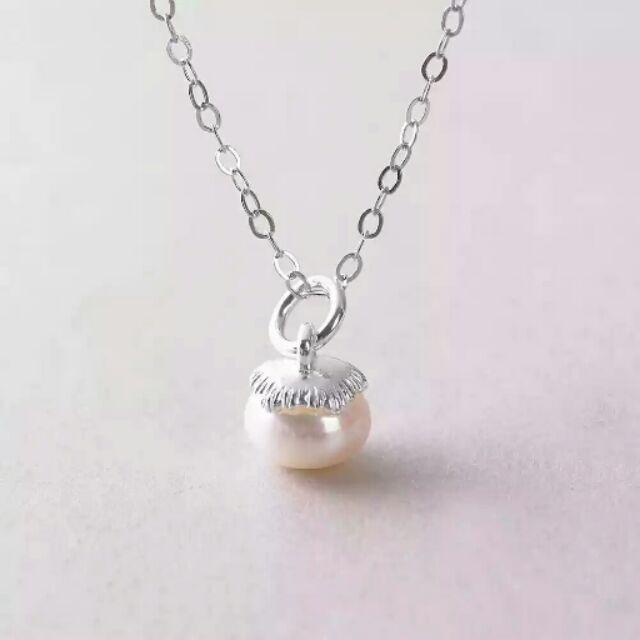 天使工坊S990 純銀天然淡水珍珠墜飾柿子 diy  尾鍊項鍊純銀手鍊蠟線客製