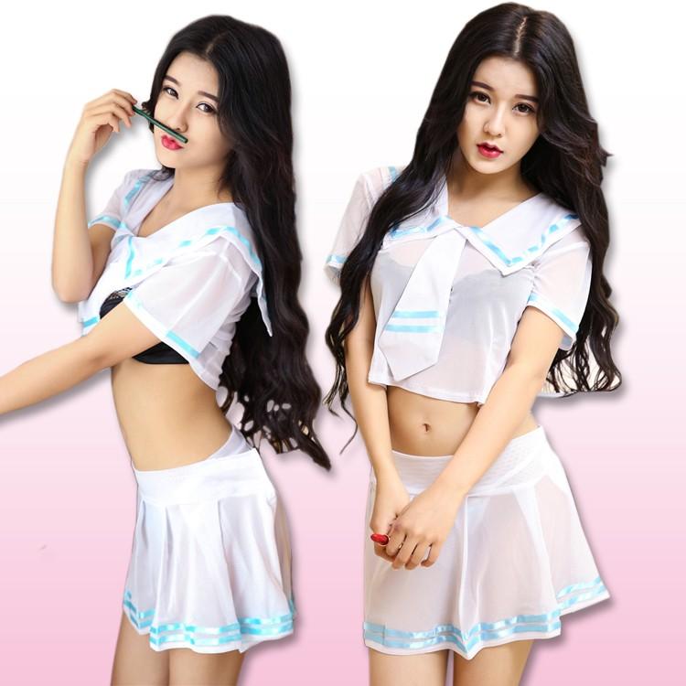 日系透明學生服性感水手服學生服透明薄紗胖MM 可穿角色扮演cosplay 制服派對G010