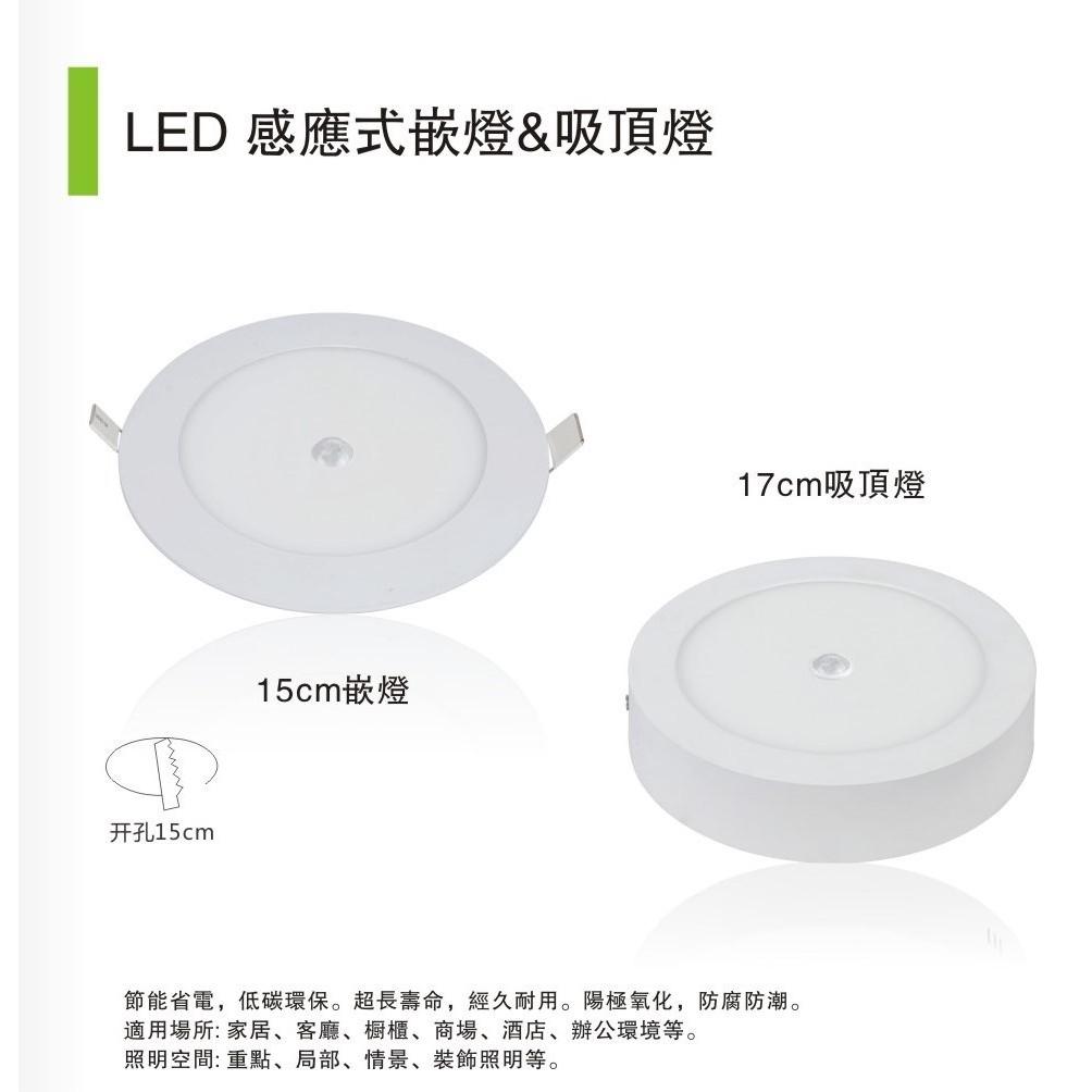 LED 12W 吸頂燈12W 感應式吸頂燈12W 微波感應燈感應吸頂燈走廊樓梯陽台吊燈崁燈