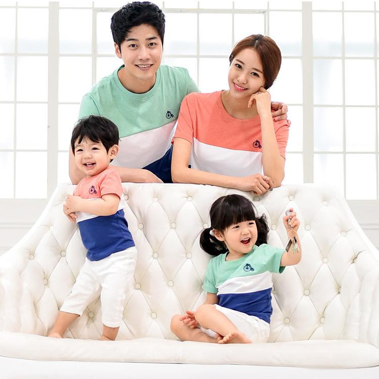 台中 ~甜蜜蜜親子裝~夏裝TMM368 短袖T 恤三色拼接