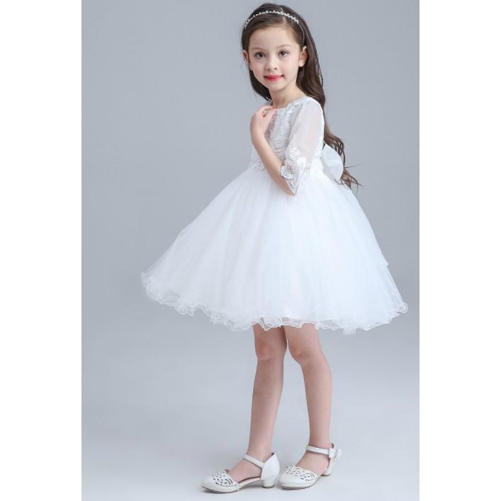 女童寶寶嬰兒禮服洋裝白色連身裙子花童週歲拍照蕾絲紗裙婚禮裙