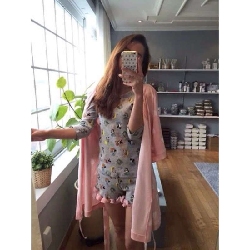 韓國日式純棉五七分中袖米奇 少女睡衣家居服可愛卡通套裝