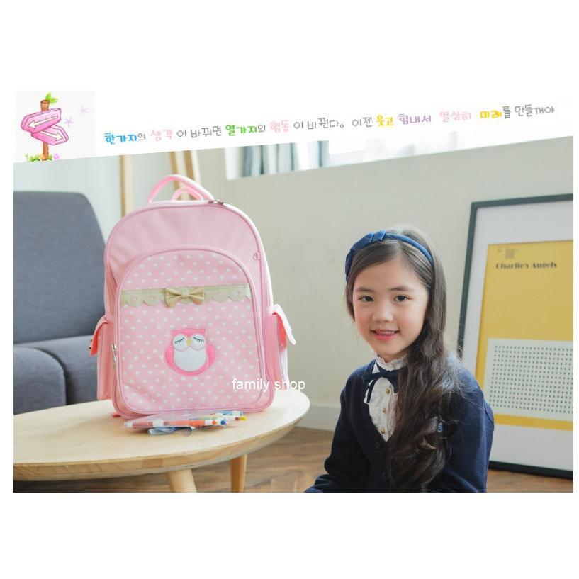 韓國原創品牌兒童減壓護脊書包超萌貓頭鷹和愛心圖樣小學生書包雙肩背包外出旅行背包