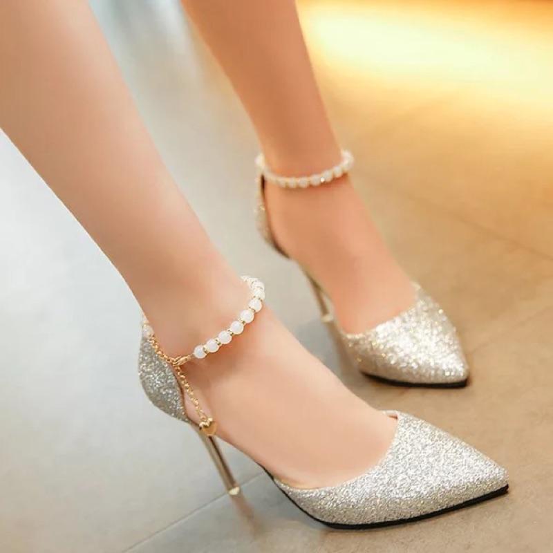 超夯火辣性感 夜店婚宴亮片珍珠 細跟6 10CM 尖頭高跟鞋顯瘦百搭大碼女鞋