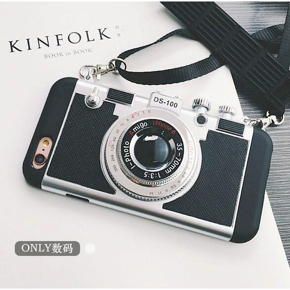 韓國立體照相機iphone6s 手機殼蘋果7plus 保護套5SSE 挂繩防摔套潮iPho