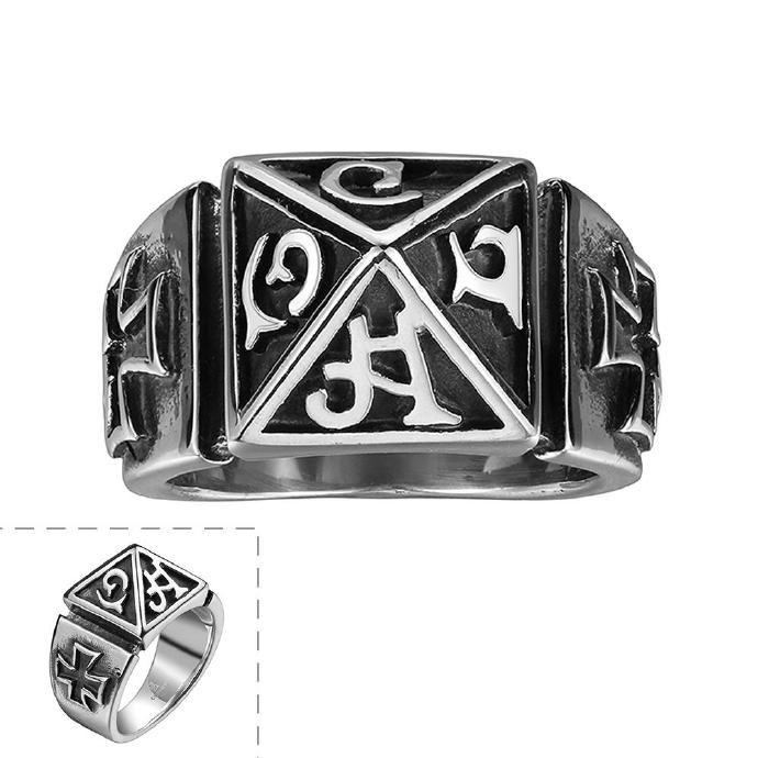 古瑪雅神秘文字復古十字架鈦鋼戒指