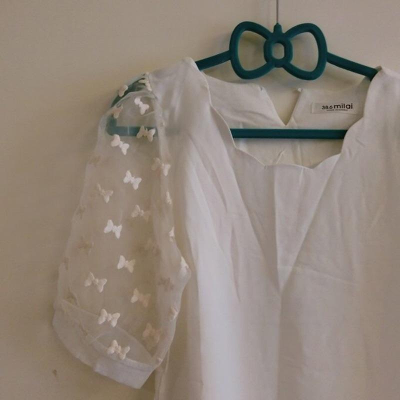 ~071 ~波浪花邊領拼接蕾絲刺繡蝴蝶結雪紡上衣