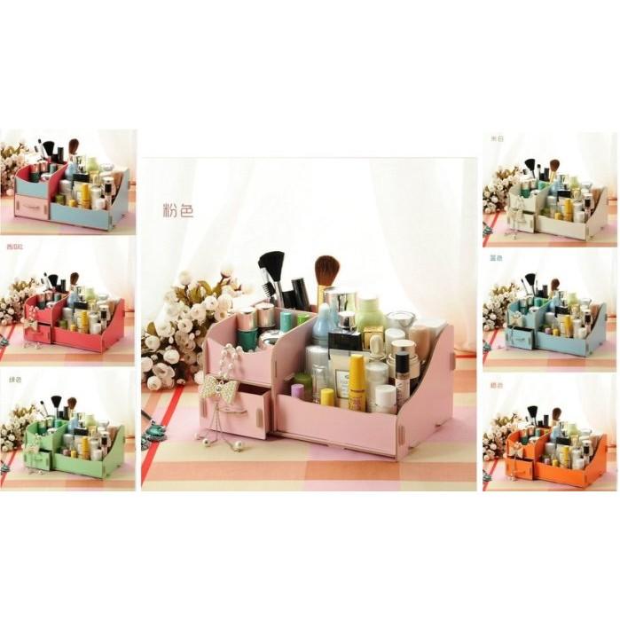 愛美99 舘16 木製DIY 雙層收納箱DIY 木質化妝盒桌面飾品收納盒多用途收納盒木質收