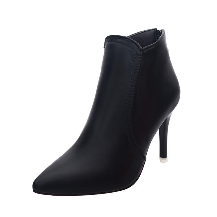 2016  短靴女春秋單靴英倫風女鞋馬丁靴女裸靴細跟高跟鞋子