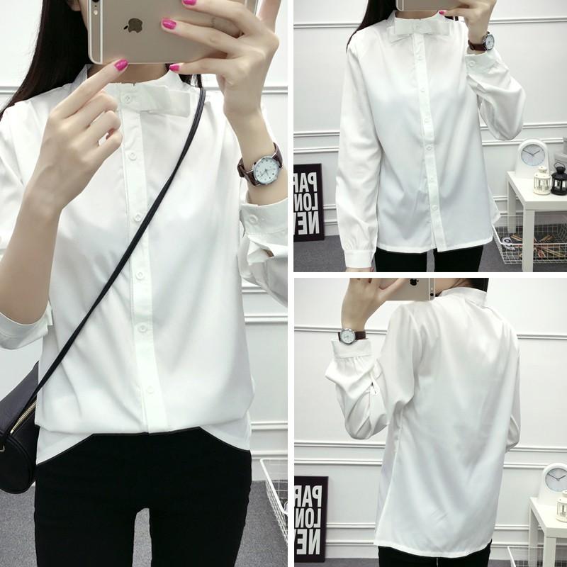 秋裝女學生裝顯瘦百搭立領白色襯衣女裝 修身文藝領結打底襯衫
