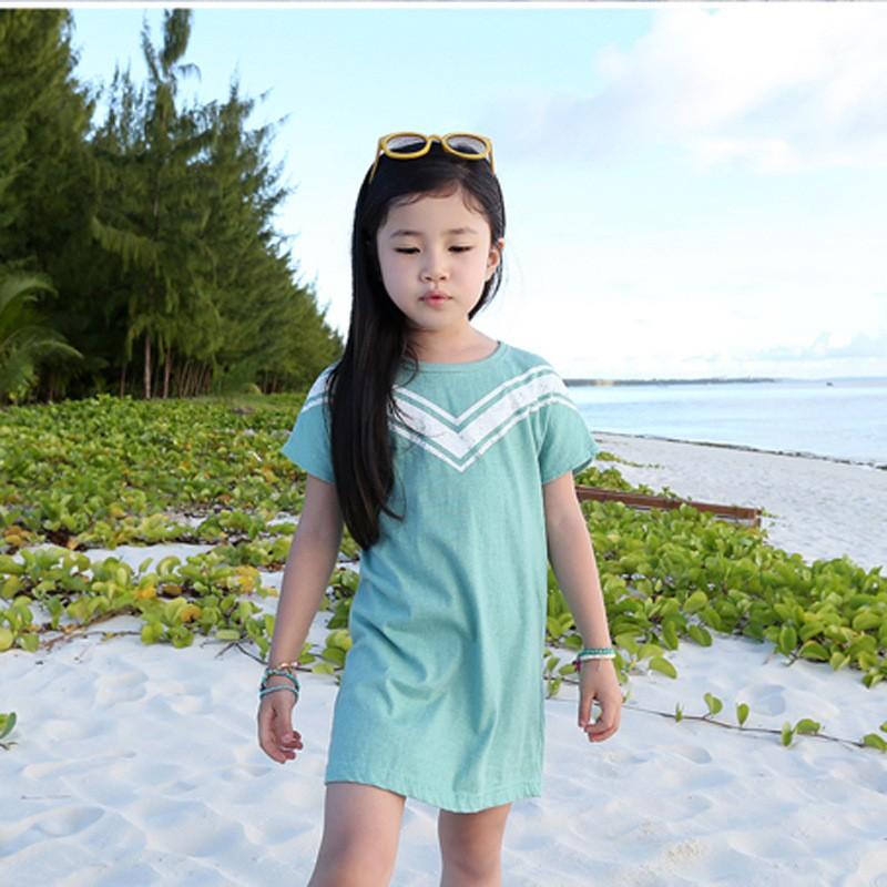 16 夏款女童純棉糖果色條紋圓領t 長版T 恤奧戴爾面料短袖上衣90 130cm T000