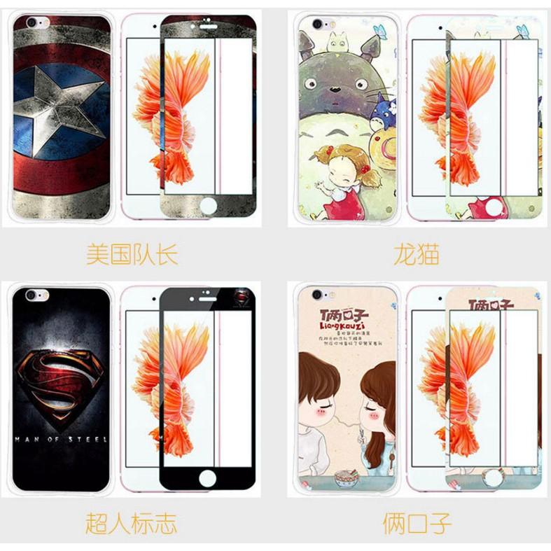 美倫美奐小舖iphone plus 6s 5 5 手機殼彩繪鋼化膜卡通彩膜手機套浮雕彩繪