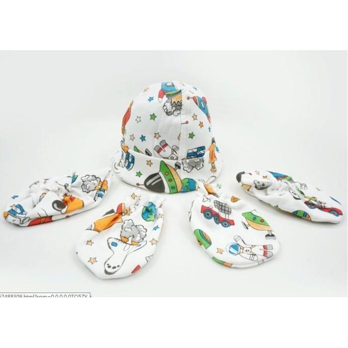 ~草莓花園~Momscare 初生男女寶寶純棉新生兒滿月胎帽子0 3 個月用品手套腳套帽子